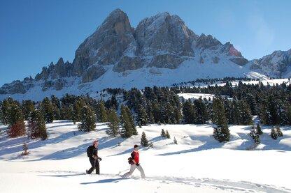 Randonnée en raquettes face au mont Sass de Putia