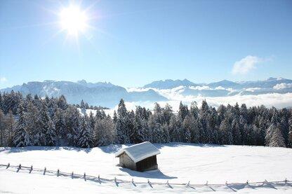 Vue sur les Dolomites en hiver depuis le mont Corno del Renon
